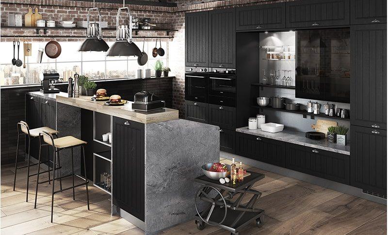 Cuisine industrielle en bois, granit et métal