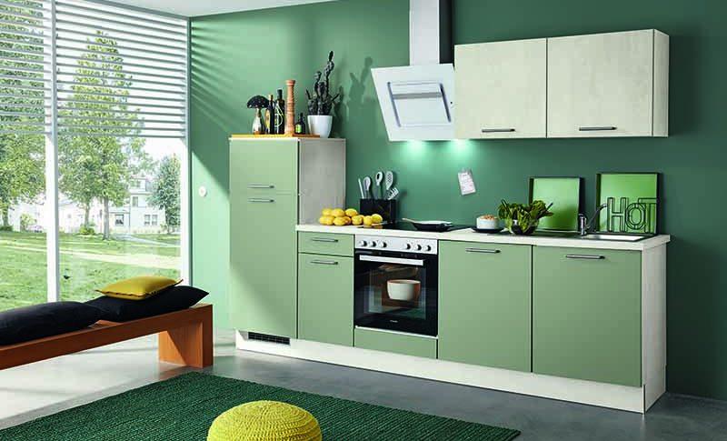 Cuisine linéaire verte et blanche